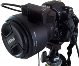 Shutter release cable attached to Nikon D300 camera