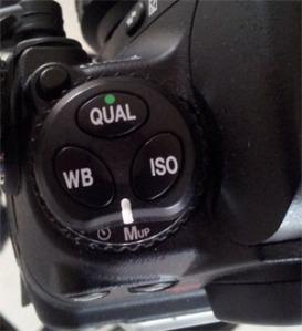 Mirror lock up mode shown on Nikon D300 camera