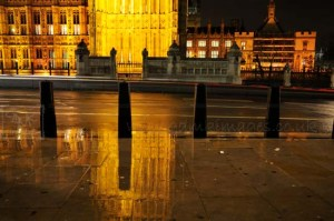 Parliament reflections on the pavement