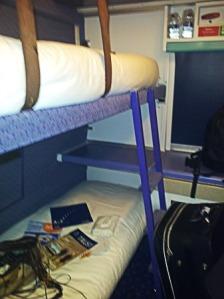 Sleeper train cabin inside view