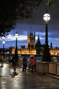 South Bank and Houses Parliament Dusk