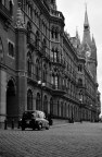 St Pancras Renaissance hotel in black and white
