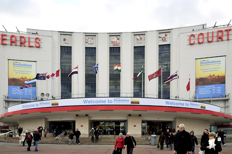 outside Earls court exhibition centre destinations travel show