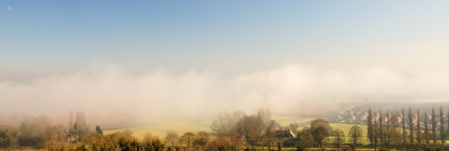 Looking down into fog covered Leicestershire