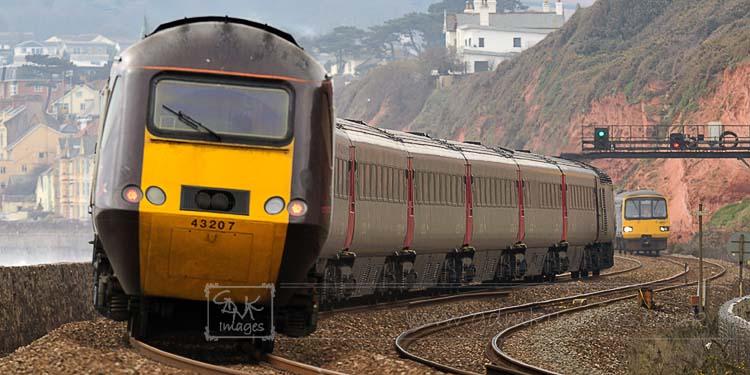 Cross Country HST train on Dawlish seawall