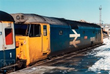 Class 50 Diesel loco 50025 Invincible in the snow at Plymouth Station