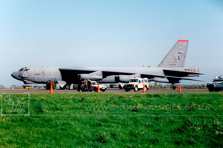 B52 bomber with security detachment at RAF Fairford