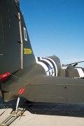 Dakota C47 with black and white invasion stripes rear view
