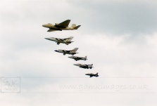 RAF Flypast including Canberra, Tornado, Harrier, Jaguar and Hawk aircraft