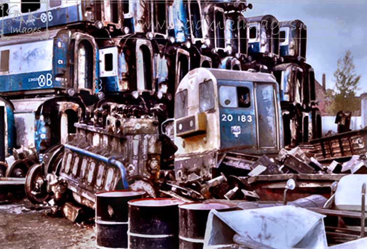 digital painting of Class 20 diesel loco at scrap yard