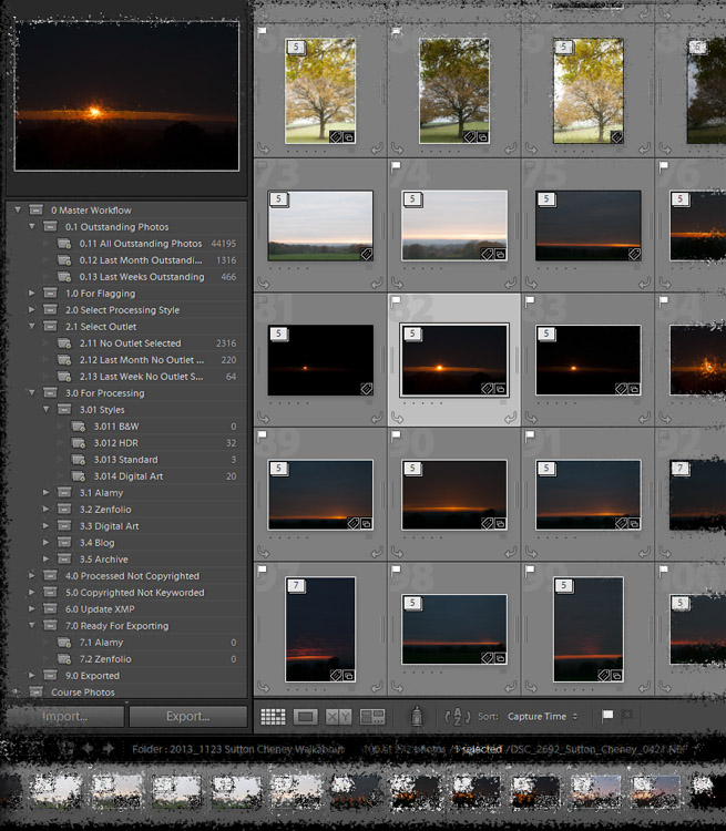 Photo showing the workflow process I use in Lightroom